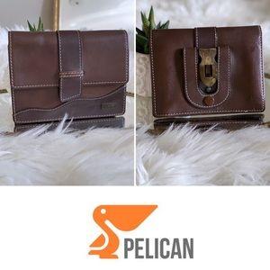 Vintage Pelican brown leather mini bag & belt loop